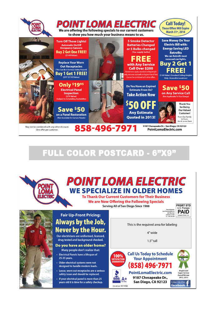 Electrician Postcard Samples Print Label And Mail