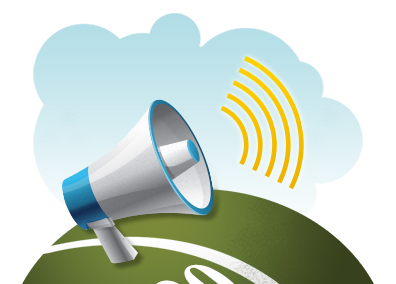 image of a hand held loud speaker illustrates design tip number 4 using a prominent call to action