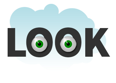 image of the word look with eyes in the letter o's to illustrate postcard design tip number one the postcard must pass the glance test