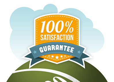 a satisfaction guaranteed badge for custom postcard design service