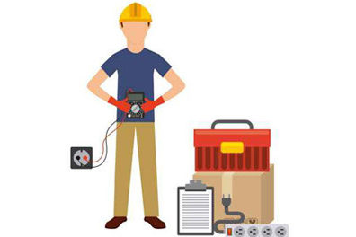 Image of an electrician with equipment to illustrate postcard marketing for electricians.