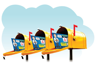 Direct Mail Postcards - 3 mail boxes