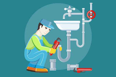 Image of plumber fixing pipes highlighting postcard marketing for plumbers.