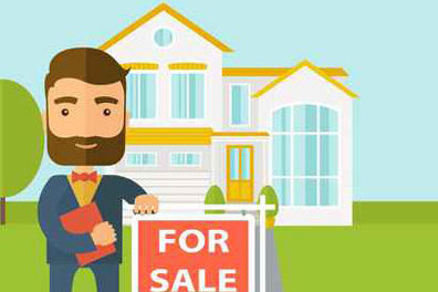 Image of a man standing in front of home to illustrate postcard marketing for realtors.