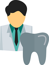 Image of a dentist with a tooth in front to illustrate postcard marketing for dentists.