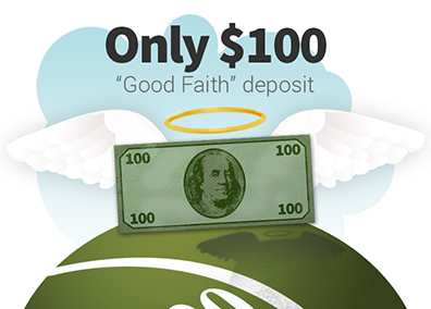 image of one hundred dollar bill which is the deposit amount needed to place a bulk mail postcard advertising order