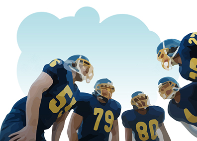 image of football players in a huddle to illustrate collaboration with customer on postcard design