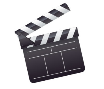 image of movie clapperboard to highlight that the websites has many training video on direct mail advertising
