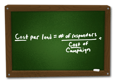 Chalkboard image demonstrating advertising costs by dividing the cost of the promotion with the number of costs per lead.