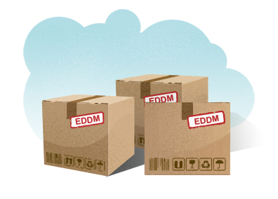 image of boxes with the label E D D M showing full service product shipped after final payment of every door direct mail prices