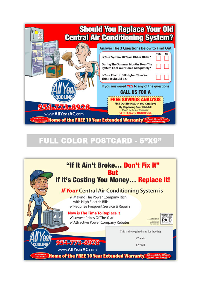 Air Conditioning Heating Postcard Samples