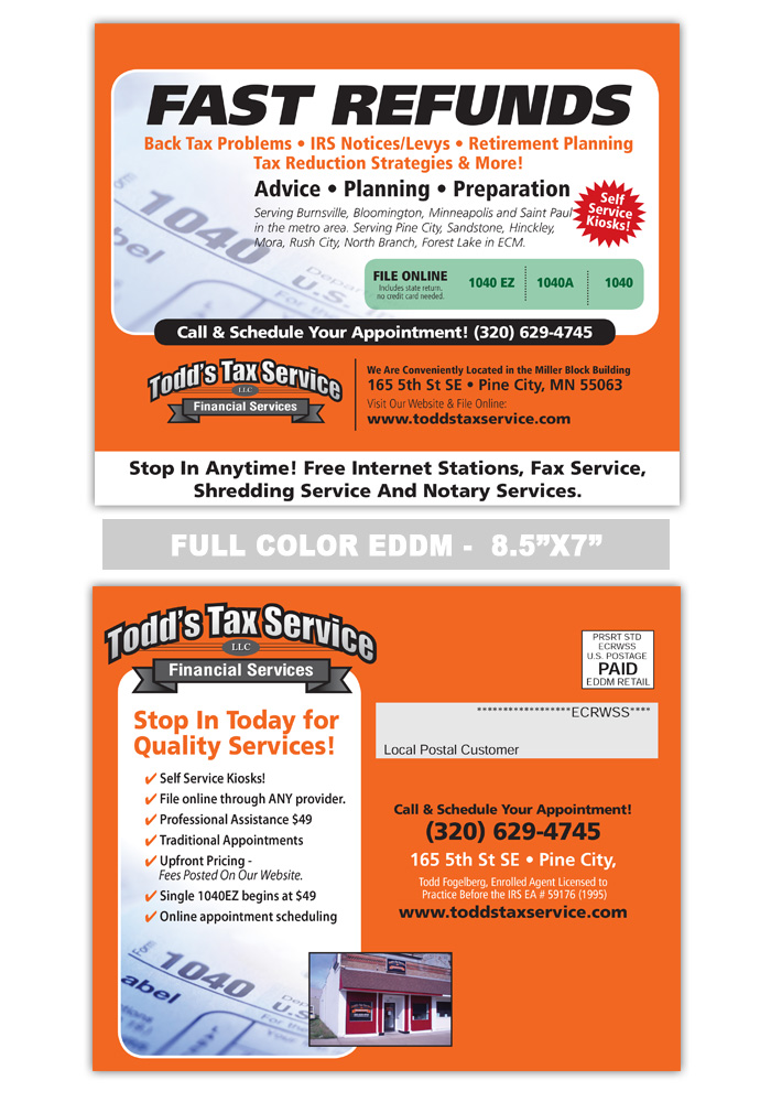 Tax Service Postcards Samples Print Label And Mail