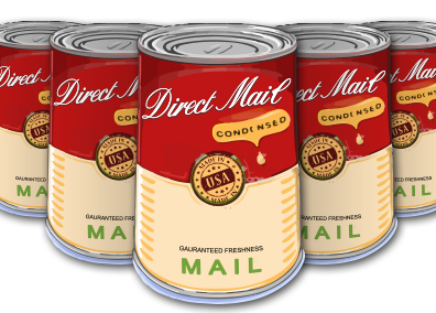 Soup can vector to illustrate longer shelf life of direct mail.