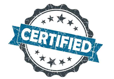 image of a badge that says certified to illustrate that we will certify a customer mailing list