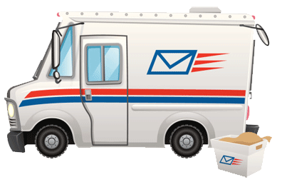 image of a post office truck illustrating that all required paperwork is provided with labe and mail orders