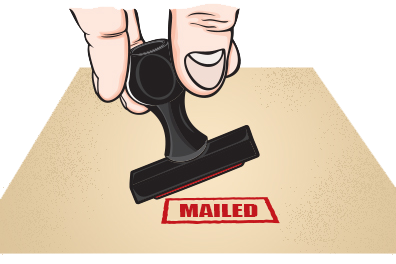 image of rubber stamp to depict proof of mailing receipt that will be sent to customer