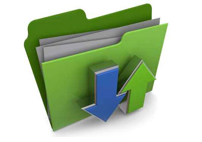 image of file folders with up and down arrows showing that a customer mailing list should be uploaded to be used to address postcards