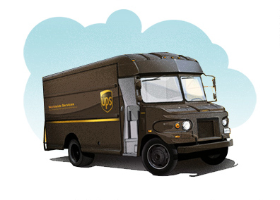 image of u p s truck shows that after postcards are designed, printed and labeled they will be shipped to the customer for mailing