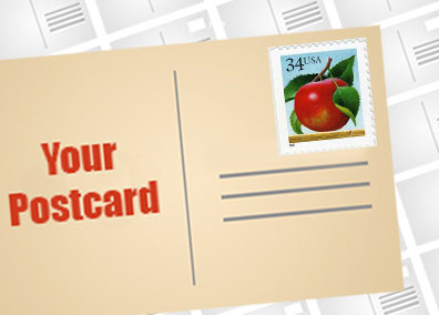 picture of a postcard with a 34 cent first class stamp which can be used to send small quantity postcard mailings