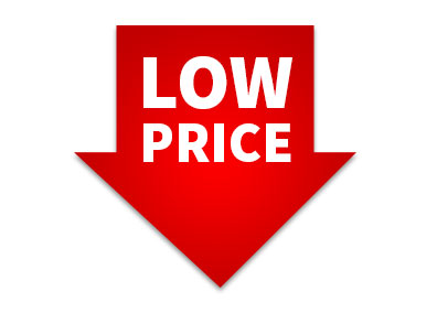 image of a red arrow pointing down with the words low price indicating that the larger the purchase the lower the price