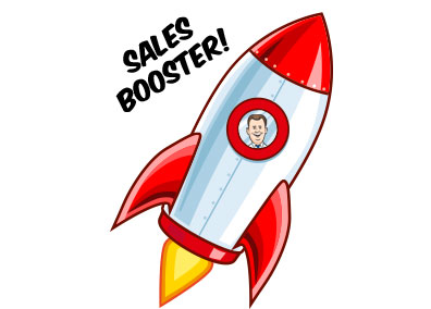 image of a cartoon rocket ship with the coach inside blasting off to represent a direct mail sales booster