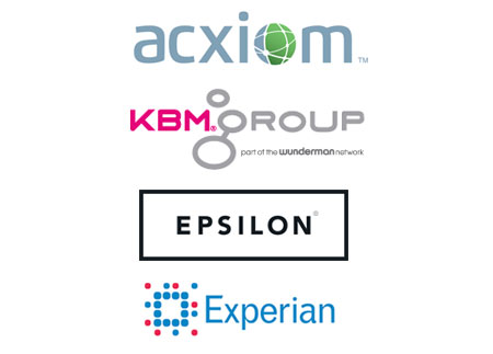mailing list data sources - logos for acxiom, kbm, epsilon and experian