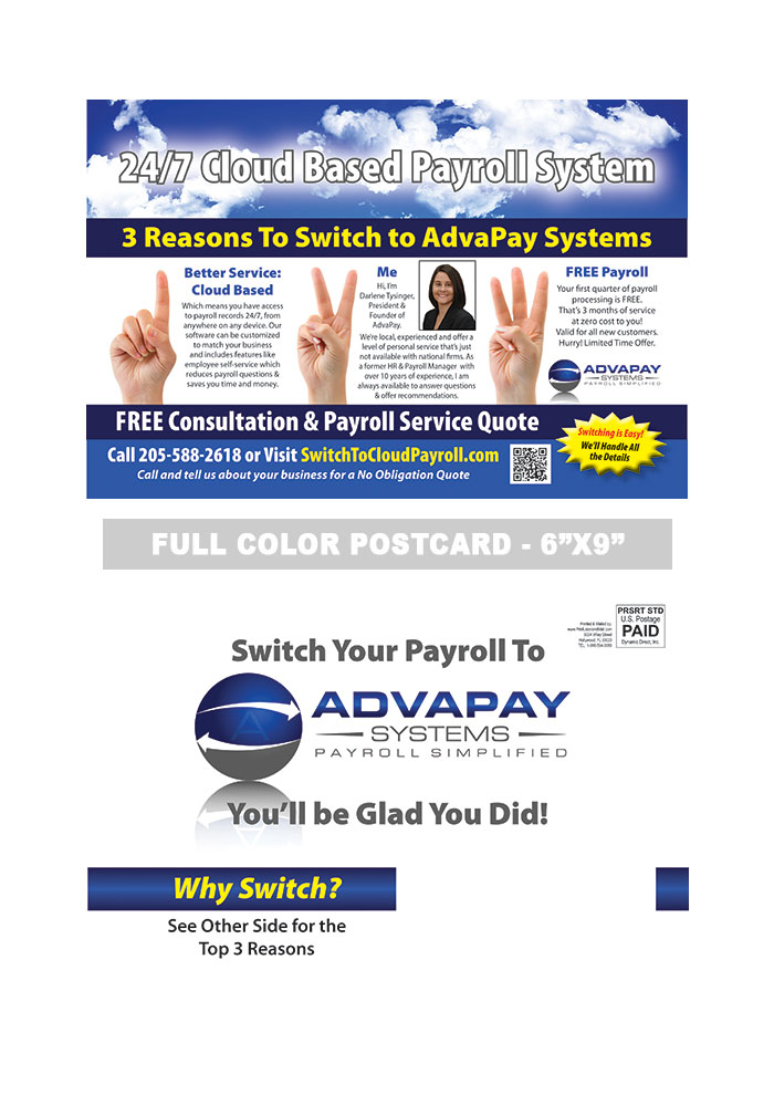 payroll postcard sample