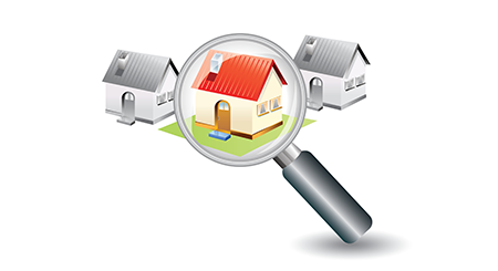 cartoon image of three houses with a magnifing glass over the center house to illustrate the page new move in mailing list which includes mailing list prices, list selection criteria, list delivery options and more