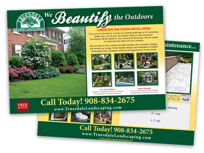 postcard sample of a landscaping company that could be mailed to new homeowners