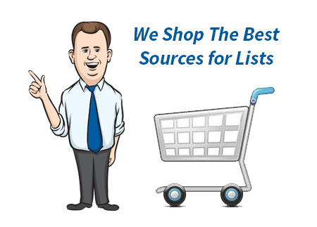 cartoon image of our mailing coach with shopping cart to illustrate that we shop various mailing list data compilers to get the best data and prices for our customers