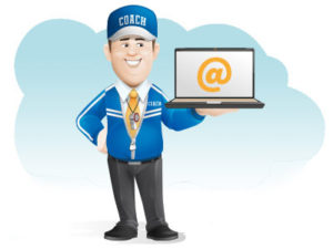 Voterse-mail and postal lists for sale - coach holding a laptop mailing list - political campaign button