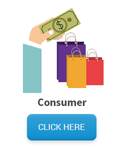 Consumers mailing list - hand with dollar near shopping bags