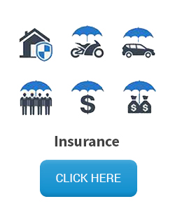 Insurance mailing list - umbrella icon over various insurance types