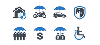 cartoon image of umbrellas used as insurance icons to illustrate the page title insurance mailing list which includes mailing list prices, list selection criteria, list delivery options and more