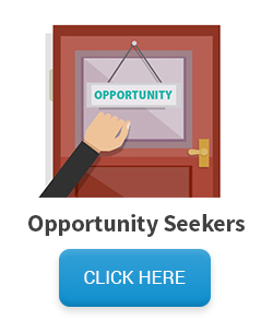 Opportunity Seekers mailing list - Hand knocking on door with opportunity sign