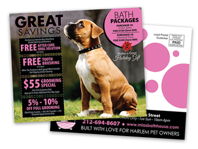 postcard sample of a dog grooming service