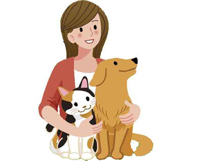 cartoon image of a woman hugging a dog and cat to illustrate the page title pet owner mailing list which includes mailing list prices, list selection criteria, list delivery options and more