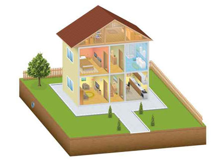 cartoon image of doll house with rooms exposed to illustrate the page title property details mailing list which includes mailing list prices, list selection criteria, list delivery options and more