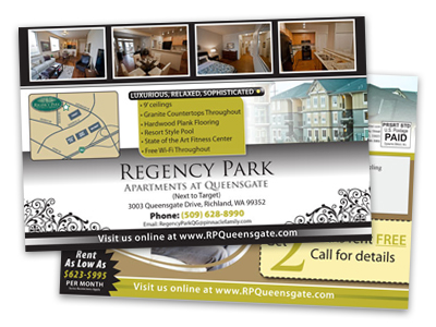 postcard sample of an apartment complex advertising for new renters