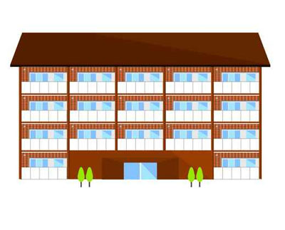 cartoon image of apartment complex to illustrate the page title renters mailing mailing list which includes mailing list prices, list selection criteria, list delivery options and more