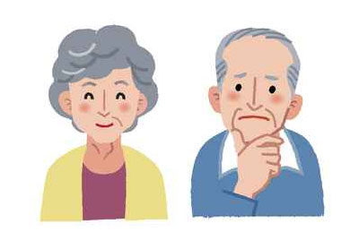 cartoon image of a senior couple to illustrate the page title seniors mailing list which includes mailing list prices, list selection criteria, list delivery options and more