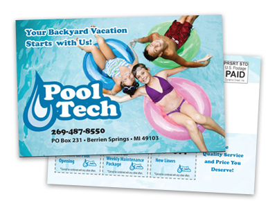 postcard sample of a swimming pool service company