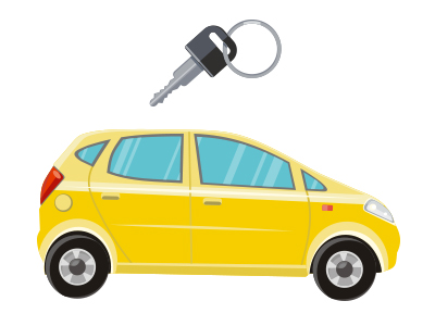 cartoon image of car representing automotive mailing list page which includes mailing list prices, list selection criteria, list delivery options and more