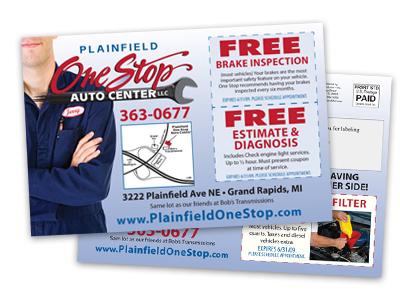 sample postcard of an automotive repair shop