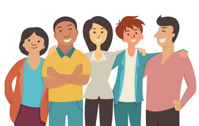 cartoon image of a group of etnically diverse young people to illustrate the page title ethinic mailing list which includes mailing list prices, list selection criteria, list delivery options and more