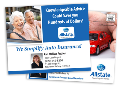 sample postcard of an insurance agent promoting auto insurance