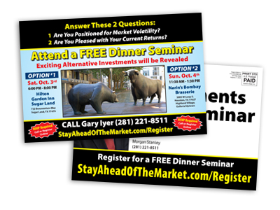 postcard sample promoting free dinner seminar for potential investors