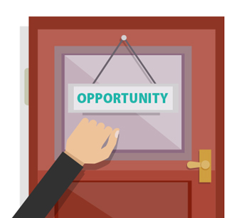 cartoon image of a hand knocking on a door with a sign that says opportunity to illustrate the page title opportunity seekers mailing list which includes mailing list prices, list selection criteria, list delivery options and more