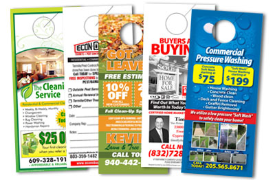 Sample of custom door hangers designed and printed.