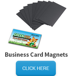 Sample of one of our printing products, a business card magnet, and a click here button that links to the business card magnets pricing and information page